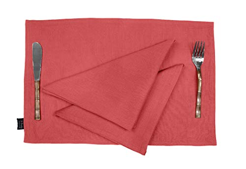 S4Sassy Naranja Wohnkultur Baumwolle Flex Waschbar Feste Speise Reversible Tablemats Mit Servietten-Set-Placemat-12x18 Napkin-18x18 (12 Pcs)