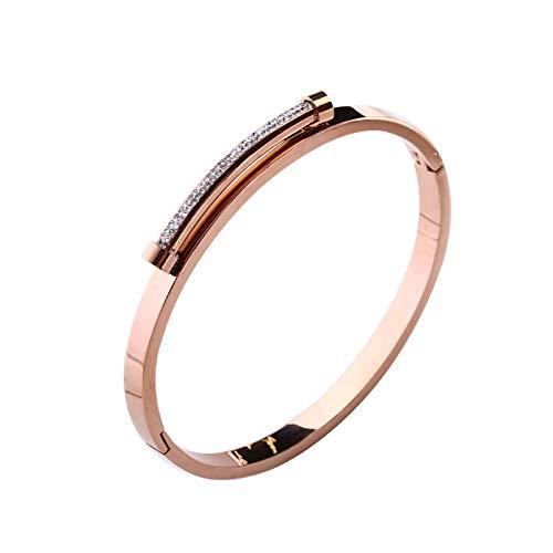 YUYANPENG Meine Damen Rose Gold Titan Armband Open Frühjahr Kalter Wind Armband Armreif Bohrstange Kiss