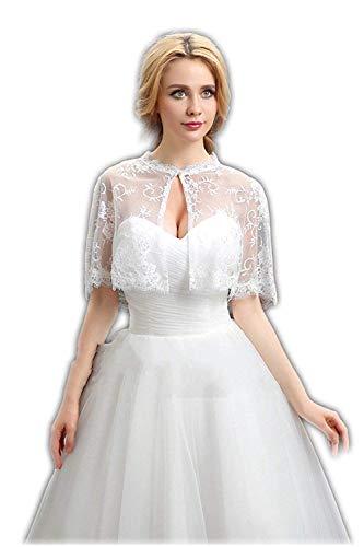 vipgowns Hochzeit Damen Jacke Weiß Spitze Bolero Bolerojackchen fur die Braut Elfenbein (Weiß, Einheitsgröße)