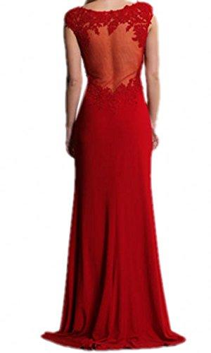 Royaldress Elegant Spitze Meerjungfrau Lang Abendkleider Partykleider Brautjungfernkleider Bodenlang Neu Rot