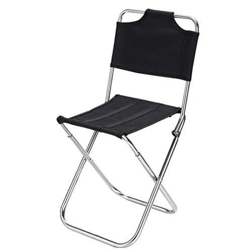 SZP Tabouret Pliant en Plein air, Chaise de Dossier Multi-Fonction, Chaise de pêche en Aluminium, Facile à Nettoyer, approprié pour la Maison randonnée Camping Plage Barbecue,Black
