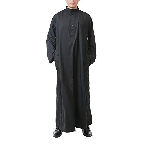 Acqrobe Muslim Abaya Thobe Herren - Arab Kaftan Langarm Robe Dishdasha Türkei Mittlerer Osten Kostüm Pure - Saudi Arabien Kostüm Männer