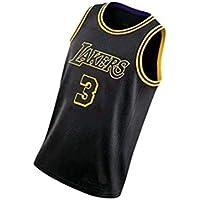 PUS Anthony Davis # 3 Los Angeles Lakers, Camiseta Deportiva sin Mangas con Bordado clásico para Hombre, Chaleco de Jersey Transpirable de Malla Informal Retro Black-XL
