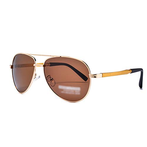 Fashion Aviator Sonnenbrillen - Mirrored Polarized Lens für Herren. Brille (Farbe : Gold/Brown)