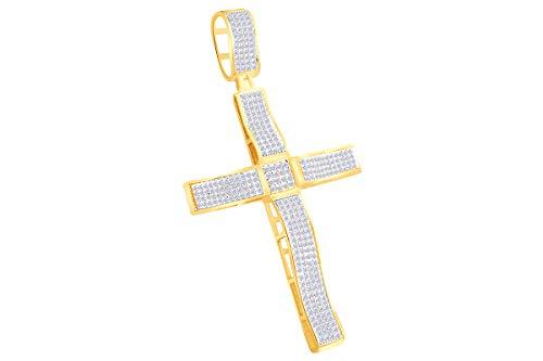 AFFY - Gold 9 Karat (375) Gelbgold (10 Karat) Leicht Getöntes Weiß/Crystal (J) Diamant (10k Weiß Gold Herren Kreuz-anhänger)