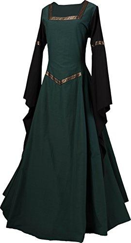 Dornbluth Damen Mittelalter Kleid Johanna Dunkelgrün (36/38, Dunkelgrün-Safran)