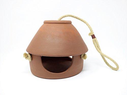 Handgefertigtes Vogelfutterhaus aus Keramik, H 20cm, D 20cm, Terrakotta, frostsicher, witterungsbeständig