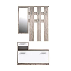 FORTE Kompaktgarderobe, Holz, Weiß Matt, 97.5 x 25 x 180 cm