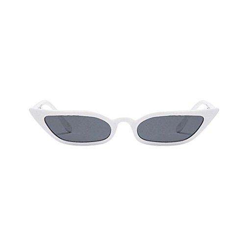 TUDUZ Damen Retro Katzenaugen Sonnenbrille Kleiner Rahmen UV400 Eyewear Mode (Weiß)