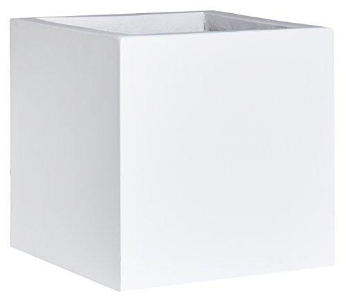 Gartenfreude - Vaso per piante a forma cubica in cemento leggero, dotato di foro per (Acqua In Cemento)
