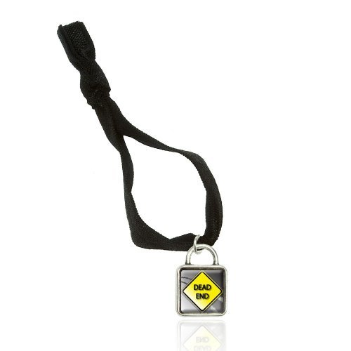 Dead End Stylized Yellow Grey Road Sign Bracelet Double Fold Over Stretchy Elastic No Crease Hair Tie With Sqr Charm