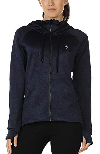 icyzone Damen Laufjacke Trainingsjacke mit Kapuze - Fitness Sweatshirt voll Zip atmungsaktiv Sport Jacke Langarm Shirt im Winter (M, Dunkel Blau)