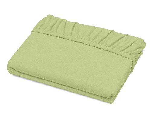 Schlafgut Spannbetttuch Frottee Stretch aus 75% Baumwolle & 25% Polyester - in 4 Größen & 26 Farben, ca. 90-100 x 190-200 cm, lind