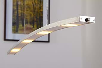 Suspension luminaire LED Ohsten finition aluminium brossé - Lampe suspendue au design moderne et à hauteur ajustable entre 90 et 150 cm - Plafonnier suspension avec variateur d'intensité intégré [Classe énergétique A++]