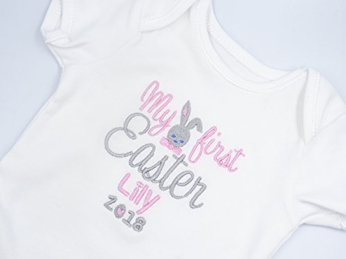 Personalised Embroidered Baby Girls Short Sleeved Bodysuit/Vest - MY FIRST EASTER with BUNNY IN BOW TIE - Girls Novelty Unique Gift & Keepsake **Add any Name**
