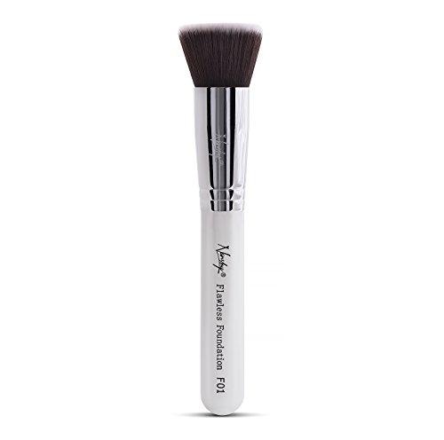 Nanshy Flat Top Flawless Foundation Makeup Brush Groß Kabuki Pinsel Mineral Powder Liquid Fluid Kosmetik Make Up Kontur Vegane Synthetisch Profi