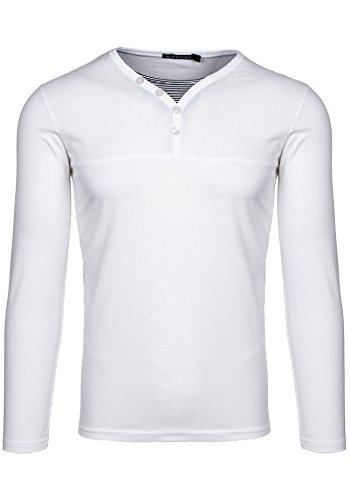 BOLF Herren Pullover Longsleev ohne Kapuze Sweatshirt New 18 Weiß_5965