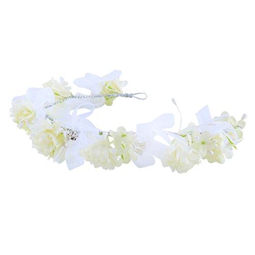 Santfe Couronne de Fleur Serre Tête Fleur Rose Cristal Perle Floral Wreath Bandeau de Garland pour Mariage Festival Anniversaire Outil de Photographie Style5