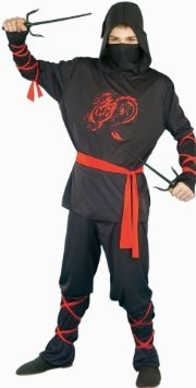 Kriegerisches Ninja-Helden Samurai Kostüm 4 Teile Drachenprint Verkleidung Karneval Fasching Kinder Oberteil Hose Maske Schärpe