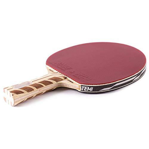 Atemi 5000 Tischtennisschläger (Kohlefaser/Balsaholz) Profi Tischtennisschläger für maximale Geschwindigkeit, Rotation und Kontrolle | Anfängerfreundlich, geeignet für Wettkampf | 7 Schichten (Konkav)