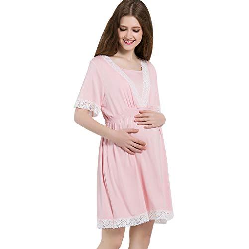 Ensembles de pyjama Chemise de nuit grossesse 'Modal' dentelle vêtements de nuit de couleur unie Vêtements de nuit enceinte enceinte manches courtes à nouer soi-même ceinture pyjama doux et douillet é