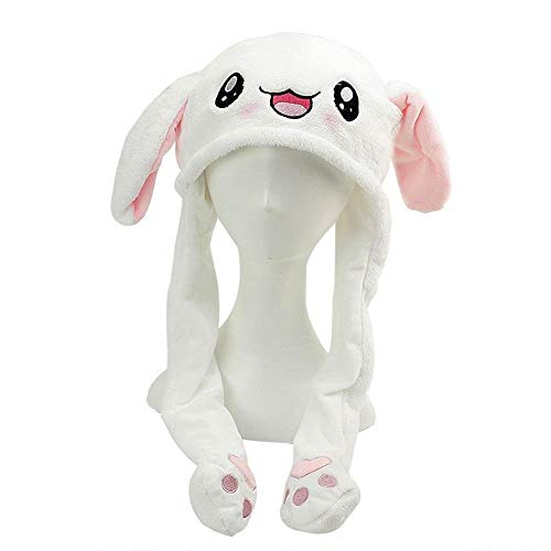 d4438e939a EUYOUZI Bunny Ears Headband Interesting Rabbit Kawaii Hat Airbag Cap Moving  Bunny Ears Magnet Cap Pinch The Paw Ears Will Move Up and Down Plush Funny  ...
