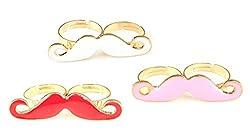 Sorella'z White, Pink & Red Double Finger Ring Combo for Women