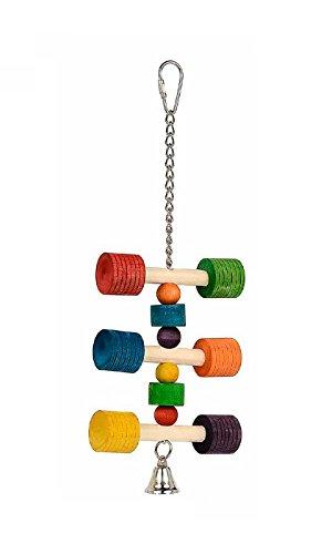 Gioco in legno con campanellino 'A' - Giochino in legno per uccelli, da agganciare alla gabbia