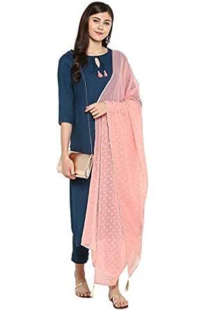 Janasya Women's Turquoise Kurta With Pant And Dupatta (SET043-KR-NP-X-Small)