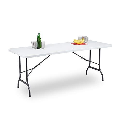 Relaxdays Gartentisch klappbar, als Koffer tragbar, wetterfest, eckig, Metallgestell, Kunststoff, HBT: 72x180x75cm, weiß