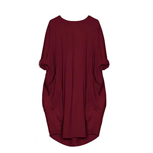 VEMOW Damenmode Tasche Lose Kleid Damen Rundhalsausschnitt beiläufige Tägliche Lange Tops Kleid Plus Größe(X1-x-Weinrot, EU-42/CN-S)