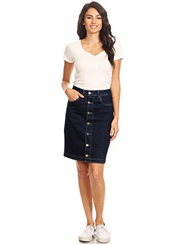 Anna-Kaci Damen Elastisch Denim Stretch Knopf Midi Bleistift a Linien Jeans Skirt Jeansrock Flare Rock, XL, Indigo Stretch Denim Flare Jeans