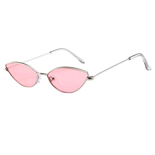 Huhu833 Mode Unisex Kleines Rahmen Katzenauge ovale Retro Weinlese Sonnenbrille Eyewear Reise Sonnenbrille (F)