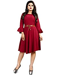 Sabaira American Crepe Fabric Maroon Color Butterfly Sleeve / 3/4Th Sleeve Fully Stitched Dress (SBRWD14_S_ Western Dress)