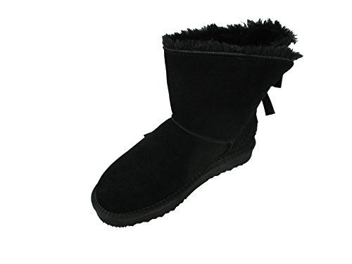 OOG Damen Leder Boots Stiefel Teddy Fell Blogger Schlupfstiefel neue Farben (38, Schwarz)