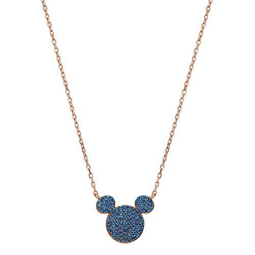 Jennywho disney mickey mouse - collana in argento 952 con cristalli swarovski e argento, colore: blue, cod. mmbblk