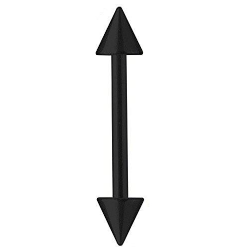 Piercing-asta titan sopracciglio nero 1,2 mm con punte | 6 - 16 mm, titanio, cod. 3268
