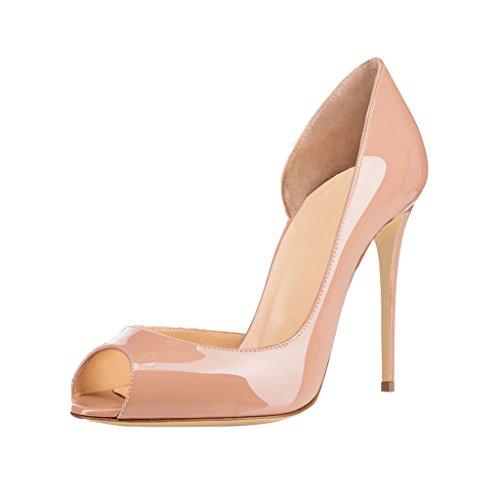 EKS Damen Nackt Peep Toe Stilett Schuhe Pumps High Heels 36 EU
