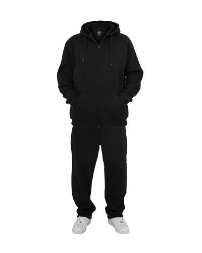 Urban Classics TB001 Blank Suit Urban Fit Tuta Uomo Felpa Zip Cappuccio Pantalone Black