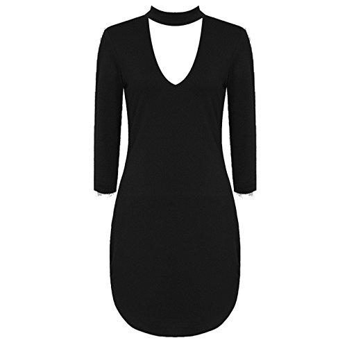 Janisramone - Robe - Robe tunique - Manches Longues - Femme * taille unique Noir