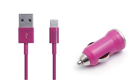 iProtect 2in1 SET mit USB Ladekabel Datenkabel und KFZ Adapter Autoladegerät für iPhone 5 G, iPhone 6, iPhone 6s, 7, 7 Plus, iPod Touch 5G, iPod Nano 7G in pink (Ipod 5 Dock Pink)