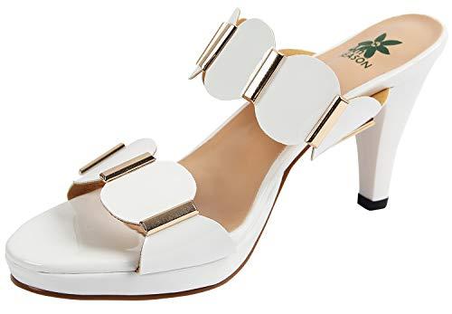 Schuhe Frauen Sandalen mit Absatz Sandaletten Pumps mit offener Zehe Plateau Weiß DE Größe 39/40 -