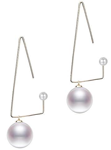 BABEYOND Women's Earrings Pearl Drop Triangle Dangle Earrings Long Drop Pendant Earrings Golden Plated Brass Fashion Jewelry 2.56