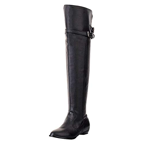 Heel Platform Knee Gothic Stiefel (SCHOLIEBEN Boots Stiefel Damen Overknee Knee Schwarz Braun Winter Biker Flach Plateau Absatz Heel Leder Lack Combat Desert Kniehoch Chukka Gothic Retro)