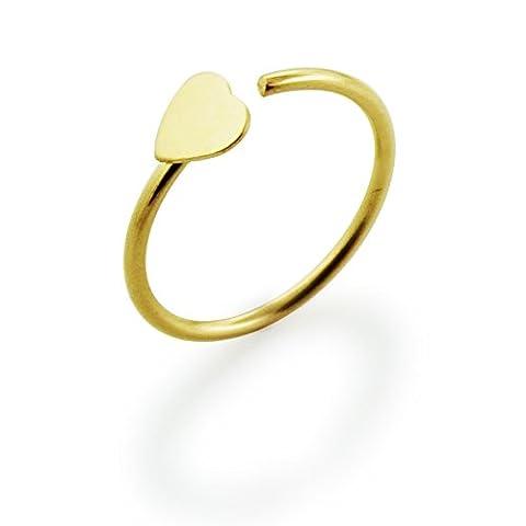 14 carats solide Pian or jaune coeur 20 Gauge (0,8