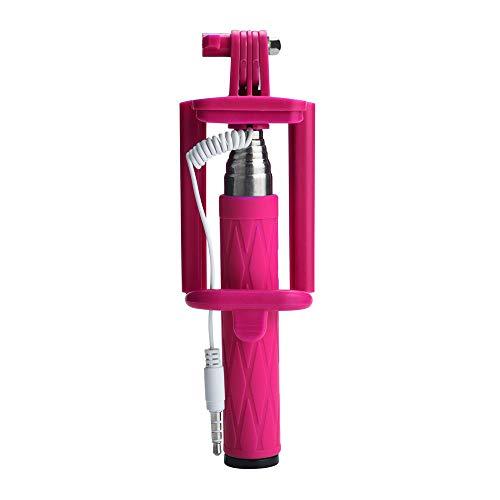 Fulltime E-Gadget Smartphone Stativ, Selfie Stick Ausziehbarer Hand-Selbst-Pole-Stativ Einbeinstativ-Stock für Smartphone (Pink)