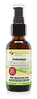 Vitamin C Serum for Face and Skin with Hyaluronic Acid, 60 ml. 2 times larger than others, better value.
