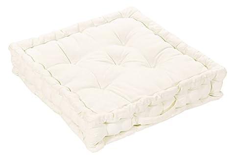 EHC 100% coton Grande matelassé Booster Coussins de Chaise Table Chaise Fauteuil Pad, 50x 50x 10cm–Crème