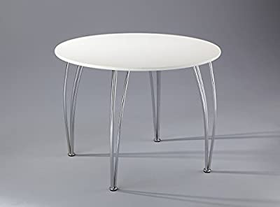 Arne Jacobsen Style Inspired White Dining Table-Emily 4 Seater Round Wooden Dining Table-White Wooden Top With Chrome Legs