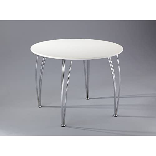 ASPECT Arne Jacobsen Style Inspired White Emily 4 Seater Round Wooden Dining Table, Wood